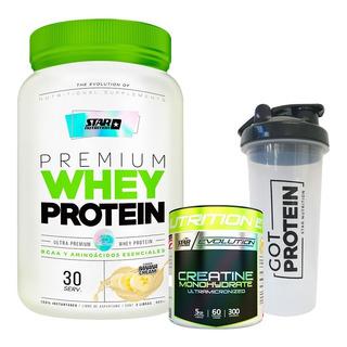 Whey Protein 2 Lb Star Nutrition + Creatina 300 + Vaso