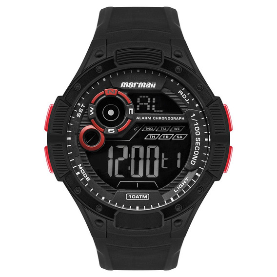 Relógio Mormaii Masculino Preto Digital Esporte Prova Dágua