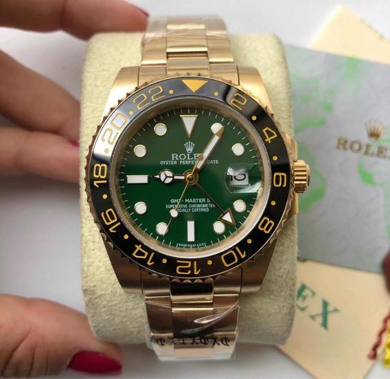 Rolex Verde Dourado Gmt Master 2 Automático Safira