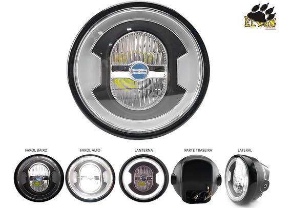 Farol Completo Cg Titan 150 Iluminação Em Led Olho De Anjo