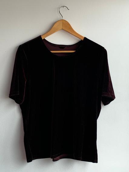Camiseta Oversize En Tercipelo Café Oscuro - Talla Única