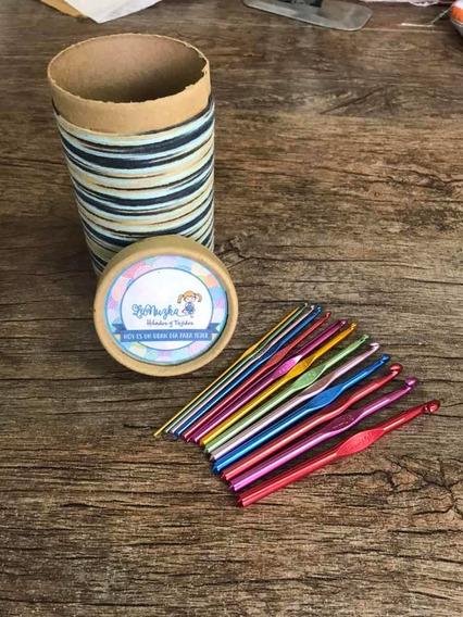 Kit De 14 Agujas Crochet De Aluminio De Colores