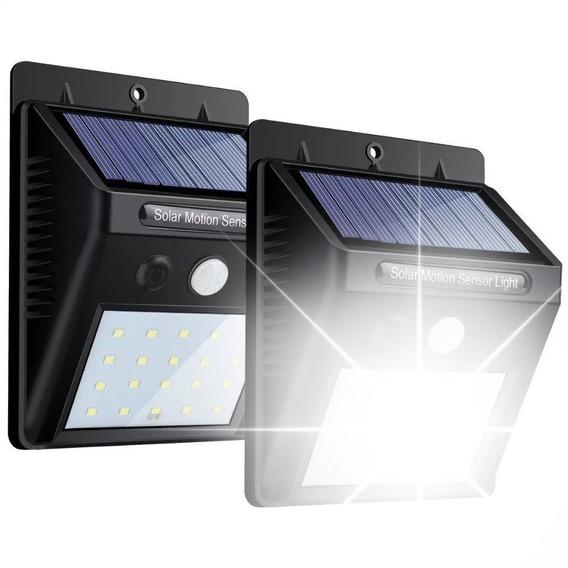 Kit X8 Luminária Refletor Solar Parede 20 Led Jardim Sensor Presença