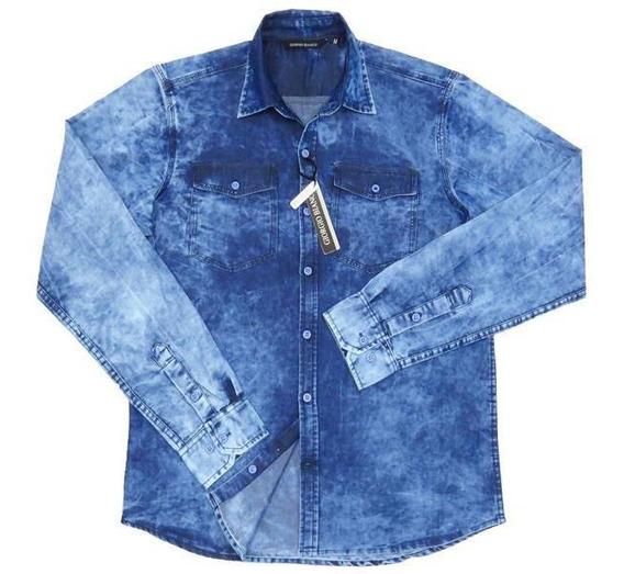 Camisa Casual Jeans Manga Longa, Giorgio Bianco 25117