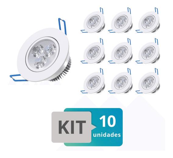 Kit 10 Spot Led Embutir Redondo Direcionável 3w Branco Quent