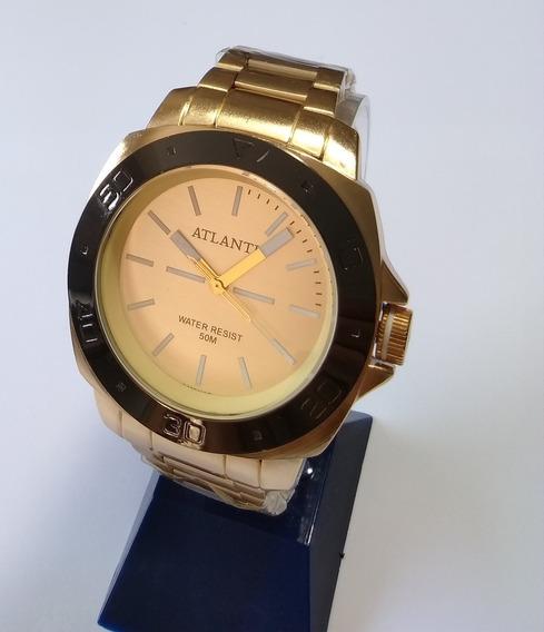 Relógio Masculino Dourado Atlantis Original A-3425.