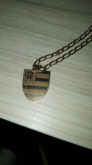 Corrente Em Ouro 18quilates, Com Medalha Do Flamendo.