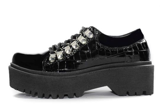 Zapatos Mocasín Creepers Acordonado Dama Cuero Eco Moda 2020