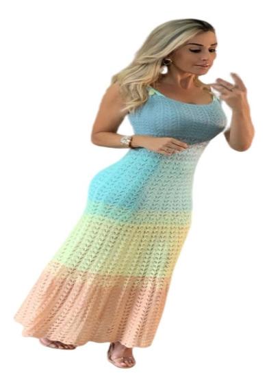 Vestido Longo Tricot Moda Feminina Verão 2020