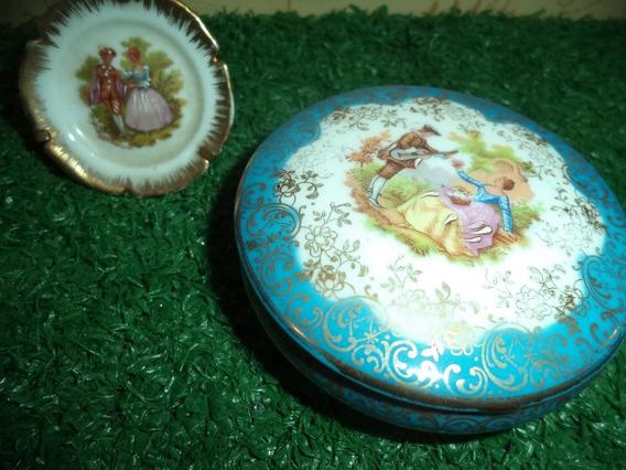 Porcelana Limoges Francesa-porta Joias E Pratinho Antigos