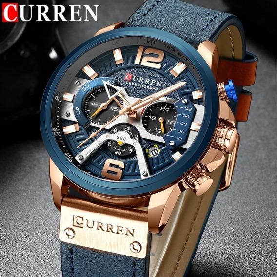 Relógio De Luxo Curren Original Cronógrafo Quartzo Militar À Prova D