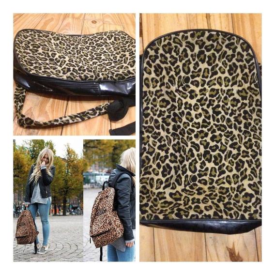 Mochila Bolso Leopardo Tela Animal Print Y Charol Negro Pin Up Mujer