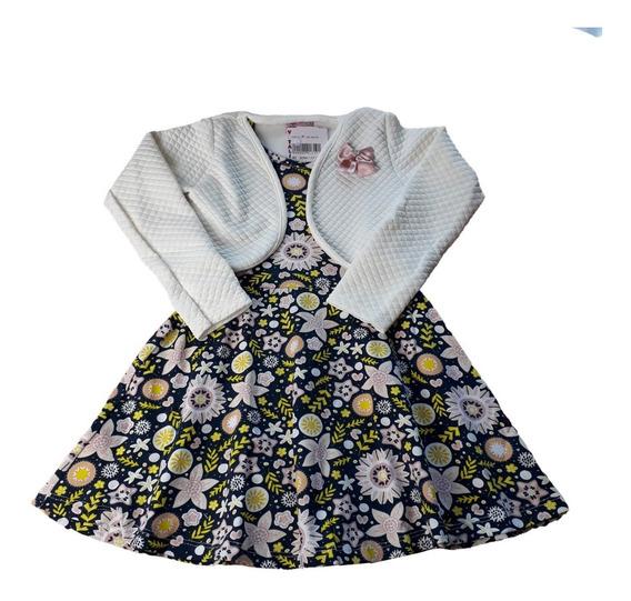Vestido Festa Infantil Menina Bolero Estampado Matelassê
