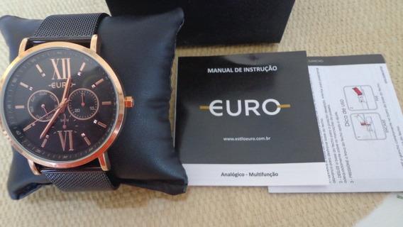 Relógio Euro Preto Com Rose Feminino Euvd75af/4p