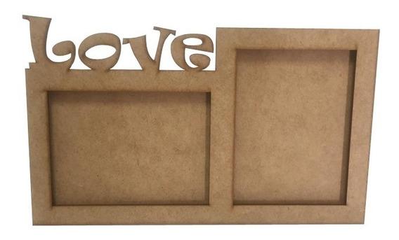 Porta Retrato Love Mdf Cru Amor 2 Fotos Kit 10 Peças 1167