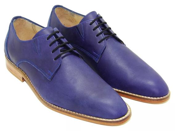 Calzado Zapato Azul Cuero Elastizado. Art 995