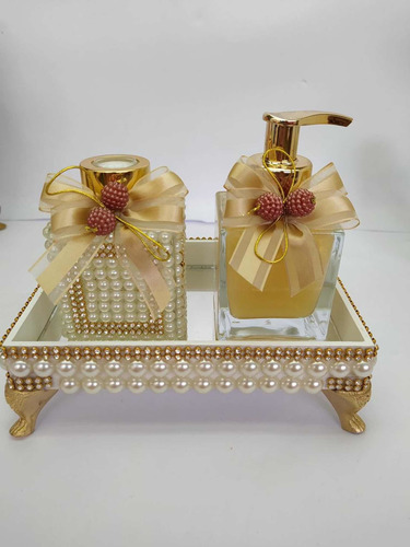 Imagem 1 de 6 de Kit Lavabo Banheiro Luxo Dourado Três Pecas Cubo Perolas
