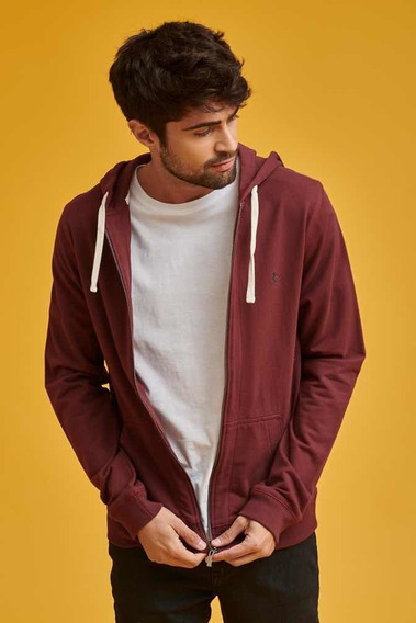 Canguro Penguin Hombre Zip Hoodie Color Bordo