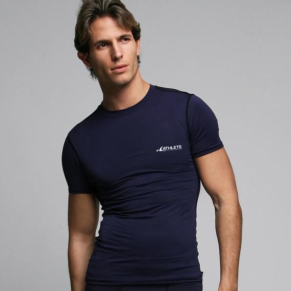 Camiseta Manga Curta Compressão Athlete P Azul Marinho