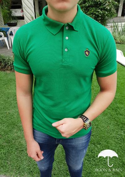 Polo Slim Fit Verde Escudo Lion Moon & Rain