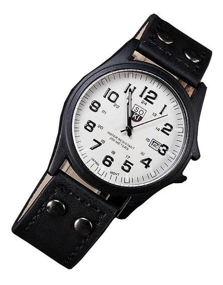 Reloj Casual Acero Cuarzo Marca Soki Color Negro Con Blanco