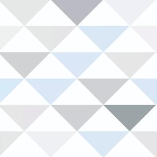 Papel De Parede Triangulo Geométrico Cinza Azul Adesivo 3m