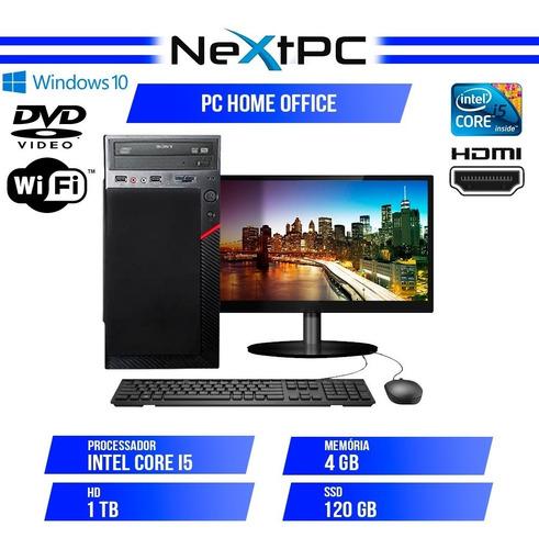 Pc Completo I5 4gb Ssd 120gb + Hd 1tb Monitor 19.5 Wifi W10