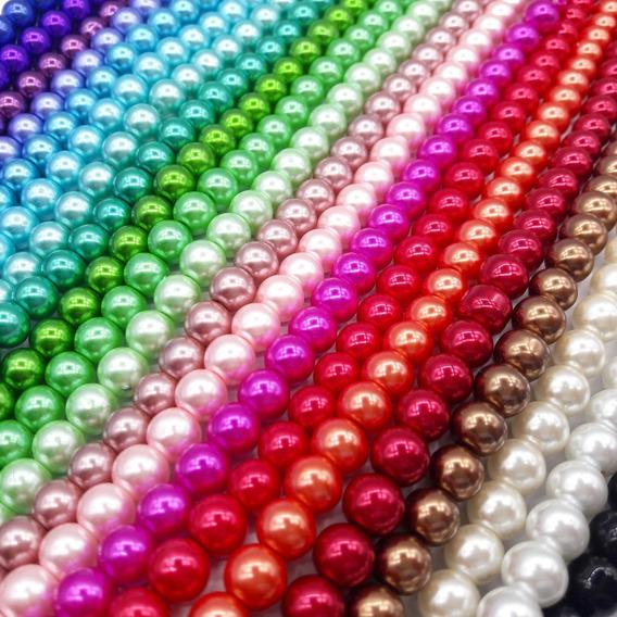 Perlas Perladas De Vidrio Surtidas 6 Mm Bijou X 5 Tiras