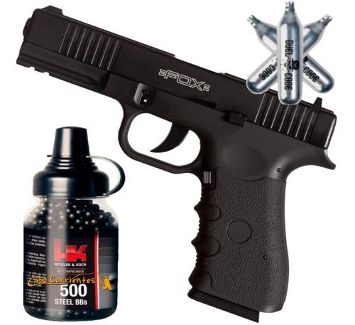 Pistola Co2 Fox Glock 17 Blowback Metalica + Kit Completo