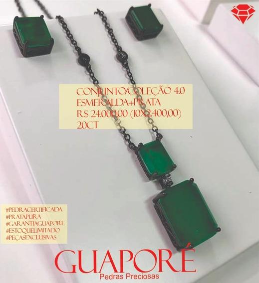 Conjunto Guaporé - Esmeralda Ouro - Colar - Brincos