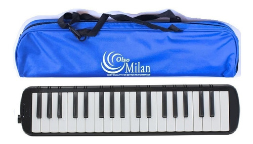Flauta Melodica Olso Milan 37 Teclas Negro Con Estuche