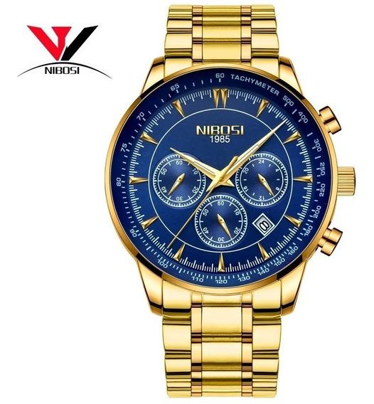 Relógio Nibosi Dourado Ni2357 Luxo + Brinde, Pronta Entrega