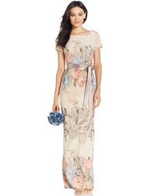 Vestido Largo Adrianna Papell Blush Floral Varias Tallas
