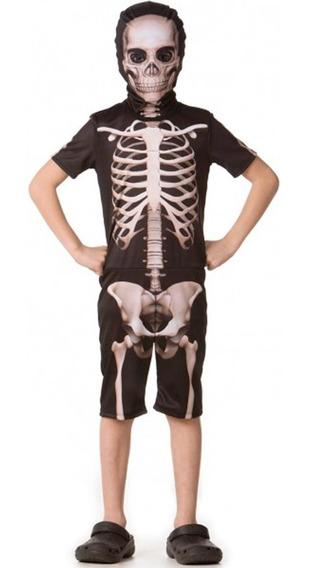 Roupa De Halloween Infantil Menino Esqueleto Curto P Ao Gg