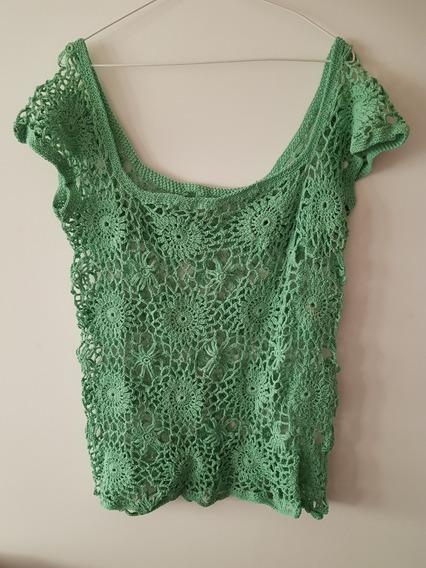 Remera Tejida A Crochet Color Verde Talle Único