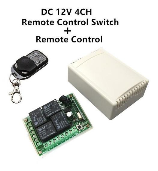 Placa Relé 12v 4 Canais + Controle Remoto Rf 433 Mhz