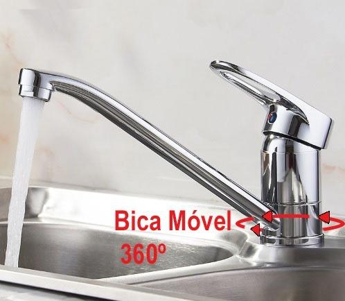 Torneira Cromada Cozinha Misturador Monocomando Bica Movel
