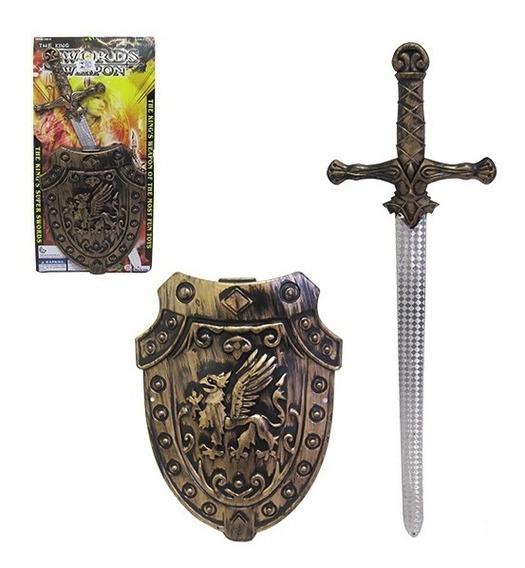 Kit Medieval Com Espada Escudo Swords Weapon Barato
