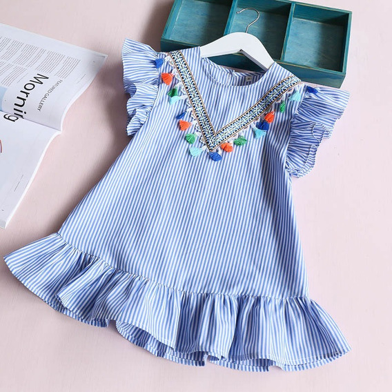 Vestido Infantil Algodão Preppy Listras Azul Branco 3-4 Anos