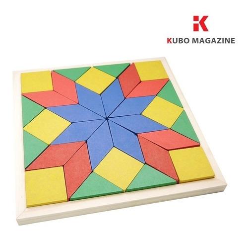 Mosaico Quebra Cabeça Brinquedo Educativo Pedagogico Madeira
