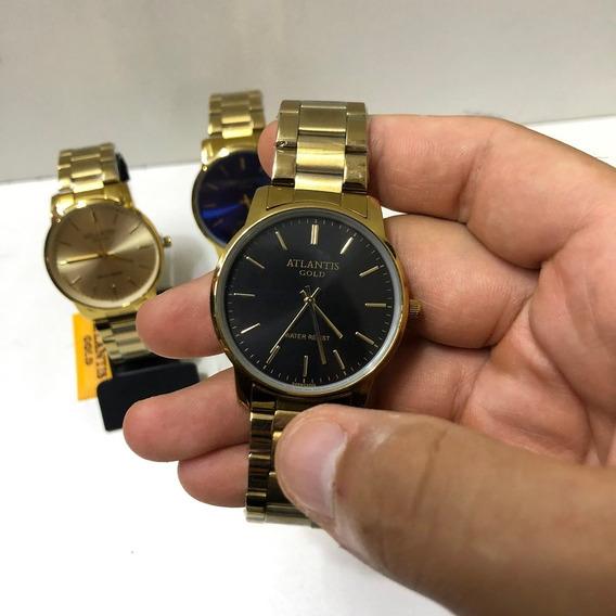 Relógio Masculino Atlantis Gold Original Social Dourado C/cx