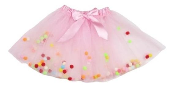 Hermosa Falda Tutu Para Niñas Bebes Pompones Envio Grati B46