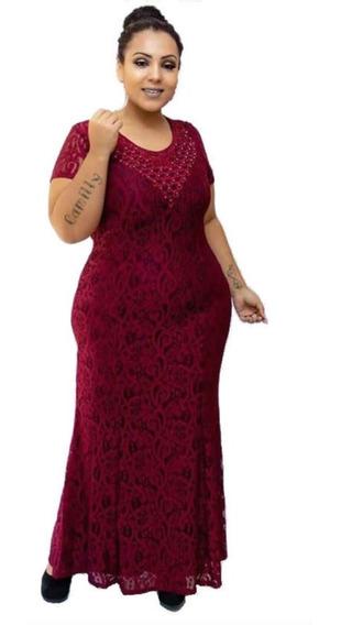 Vestido Renda Longo Feminino Casamento Madrinha Moda Evangélica Plus Size Tamanhos Especiais
