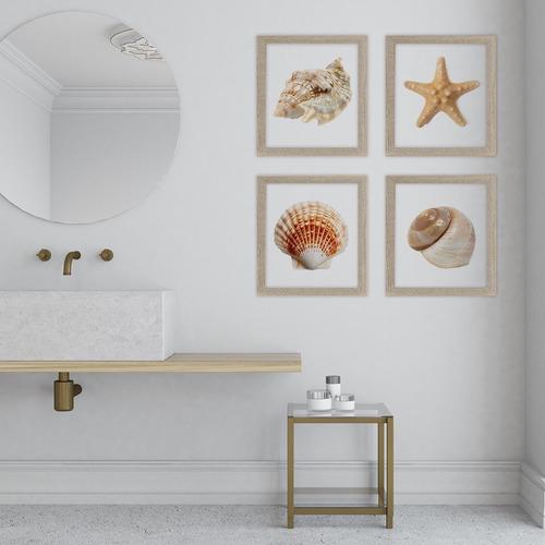 Imagen 1 de 9 de 4 Conchas Marinas Cristal Y Marco Cuadro Decorativo