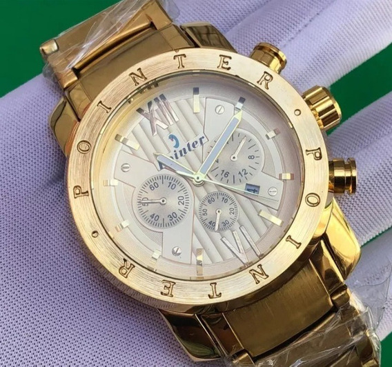 Relógio Masculino Dourado Com Calendário