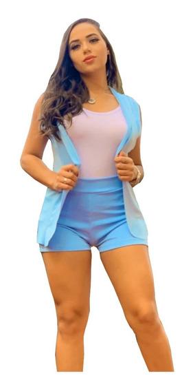 Conjunto 2 Peças Shorts Cintura Alta Colete Blazer Promoção