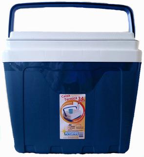 Caixa Térmica 34 Litros Cooler Azul Com Alça E Porta Copos