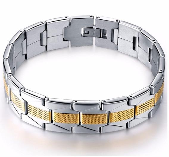 Pulseira Bracelete Unissex Aço Inox + Folheado Ouro 18k M1