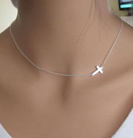Kit Colar Crucifixo + Brincos Crucifixos Em Prata