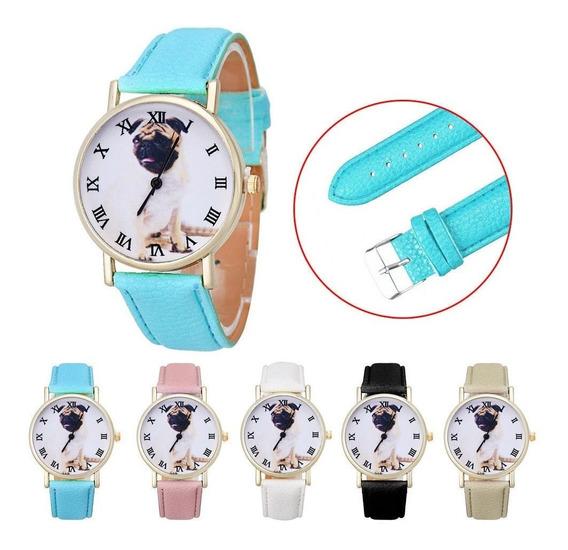Relógio De Pulso Cachorro Pug Couro - Azul Rosa Branco Preto